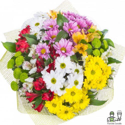 Bouquet di margherite e santini verdi