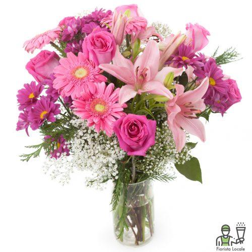 Gerbere rose lilium e gipsophila