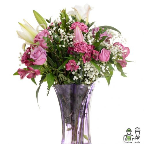 Rose rosa,Lilium,Garofani e Gipsophila